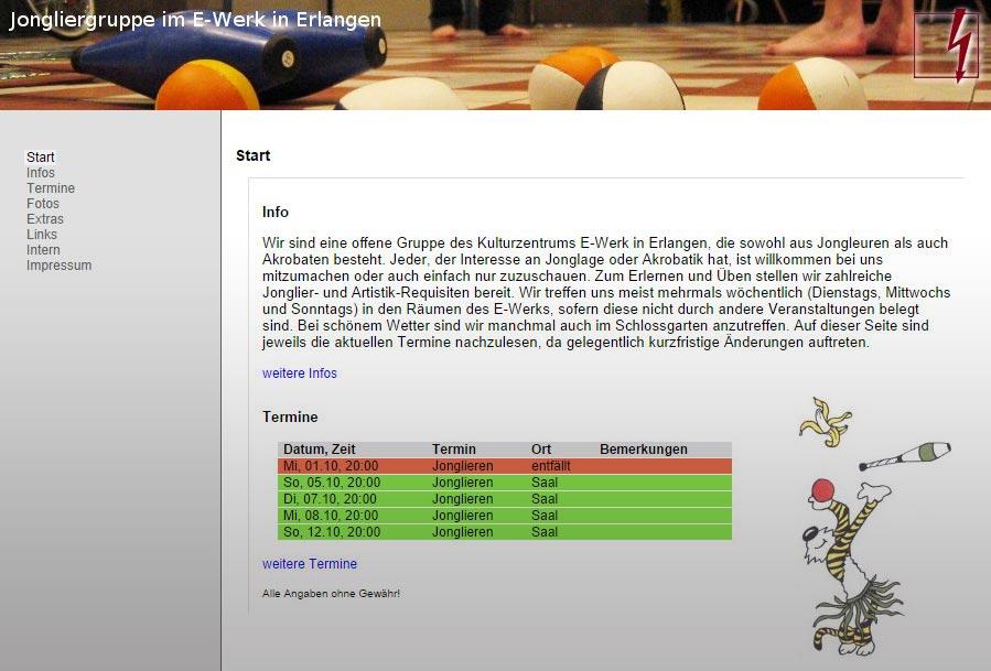 Link zur Jongliergruppe im E-Werk Erlangen
